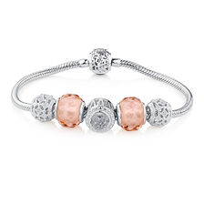 """19cm (7.5"""") Starter Charm Bracelet with Cubic Zirconia & Blush Crystal in Sterling Silver"""