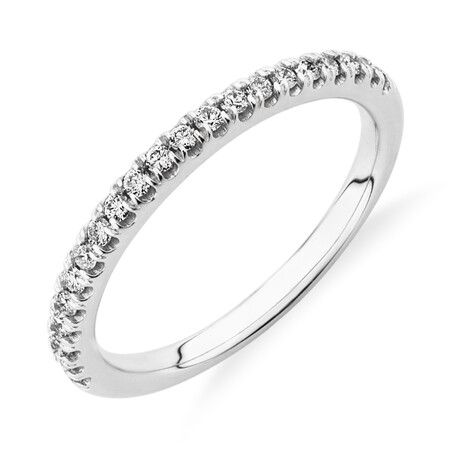 Wedding Band with 0.21 Carat TW of Diamonds in 18ct White Gold