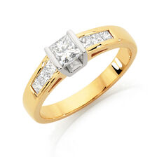 Online Exclusive - Engagement Ring with 3/4 Carat TW of Diamonds in 18ct Yellow & White Gold