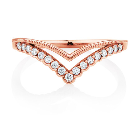 Evermore Chevron Wedding Band with 0.18 Carat TW of Diamonds in 10ct Rose Gold