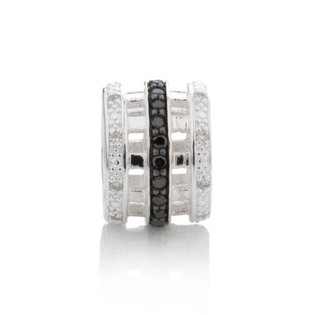 Online Exclusive - Charm with 0.15 Carat TW White & Enhanced Black Diamonds in Sterling Silver