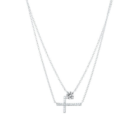 Cross Double Necklace with Created White Sapphire in Sterling Silver