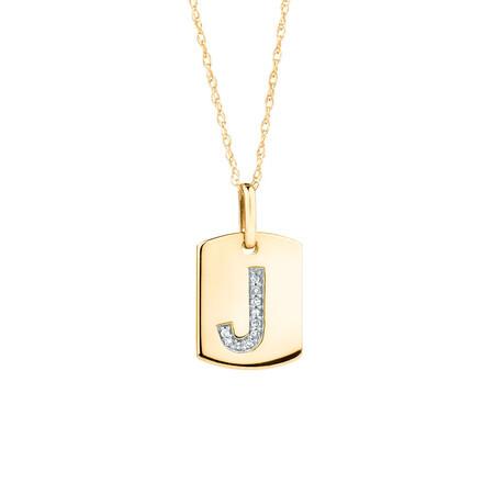 """J"" Initial Rectangular Pendant With Diamonds In 10ct Yellow Gold"