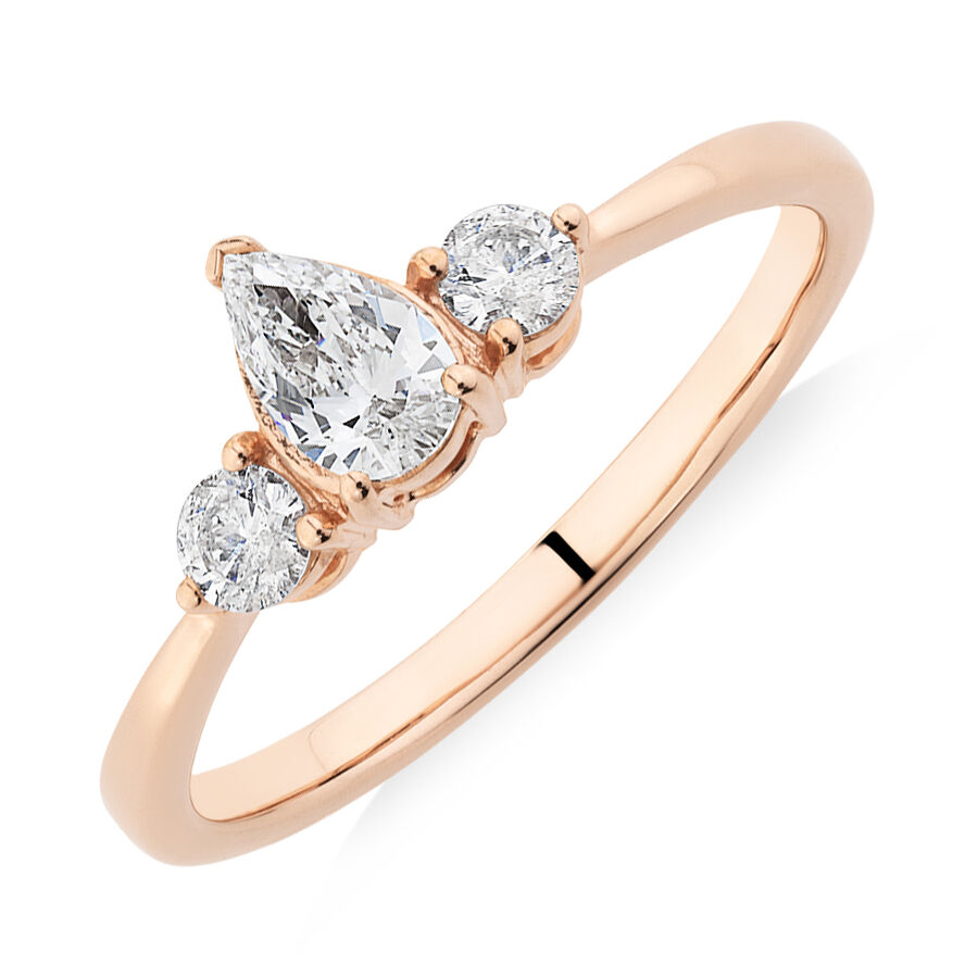 Evermore Three Stone Engagement Ring with 0.50 Carat TW of Diamonds in 10ct Rose Gold