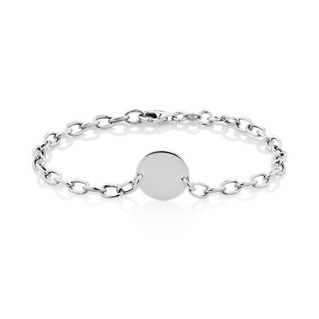 Circle Plate Bracelet in Sterling Silver