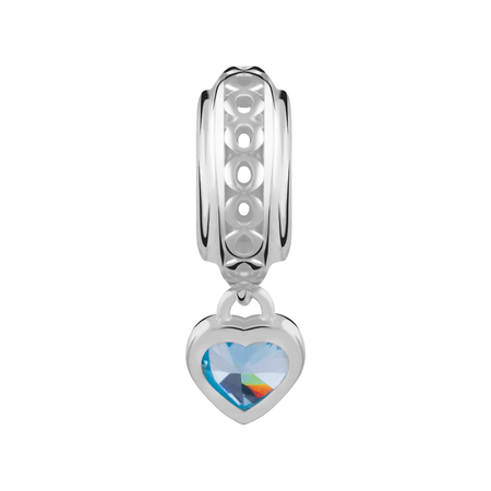 Sterling Silver March Heart Charm