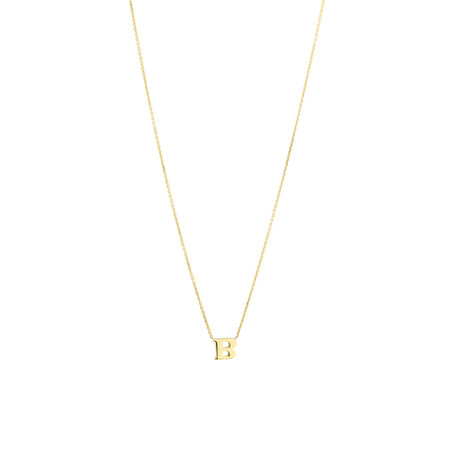 """B"" Initial Necklace in 10ct Yellow Gold"