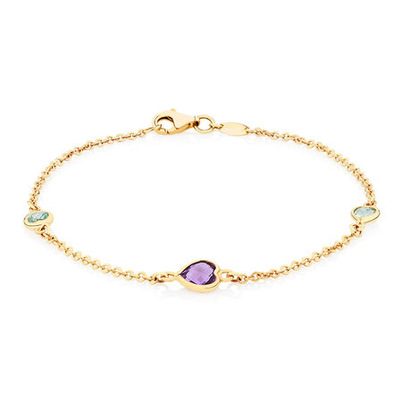 Bracelet with Amethyst & Blue Topaz in 10ct Yellow Gold