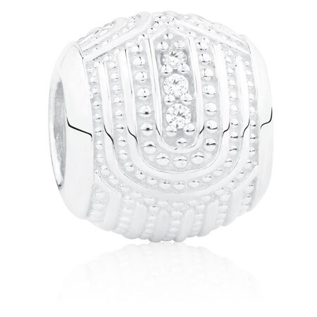 Beaded Art Deco Charm with Cubic Zirconia in Sterling Silver