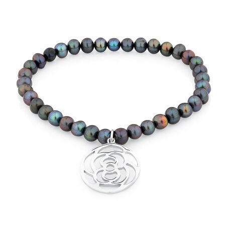 "19cm (7.5"") Elastic Bracelet with Sterling Silver Rose in Black Cultured Freshwater Pearl"