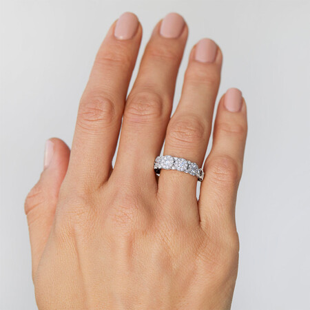 Bubble Ring with 1 Carat TW of Diamonds in 10ct White Gold