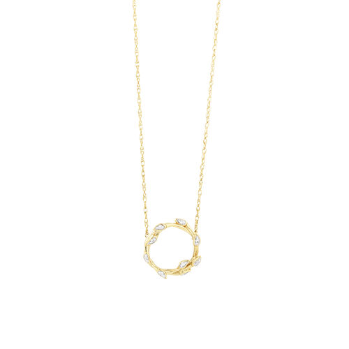 Willow Necklace With Diamonds In 10ct Yellow Gold