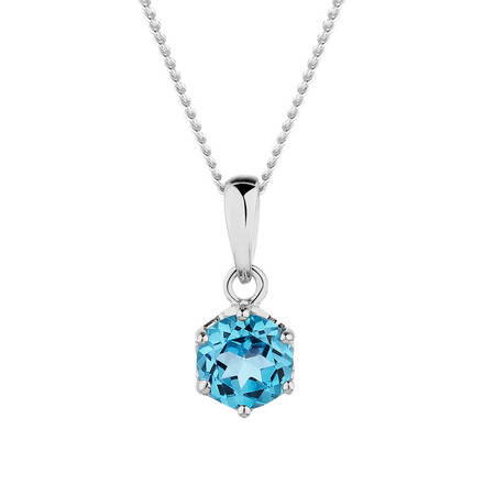 Pendant with Blue Topaz in 10ct White Gold