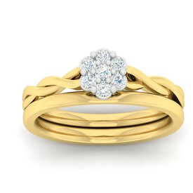 Bridal Set with 0.25 Carat TW of Diamonds in 10ct Yellow Gold