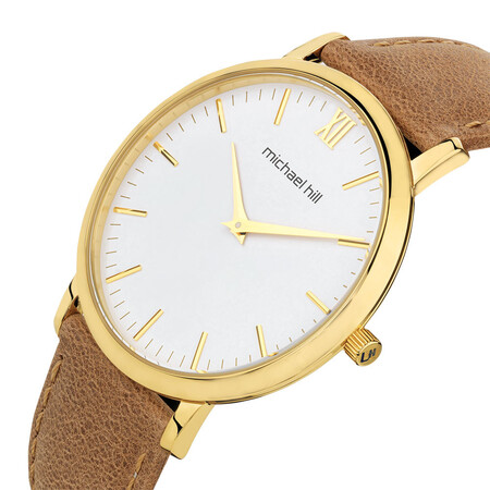 Ladies Gold Tone Stainless Steel Watch with Leather