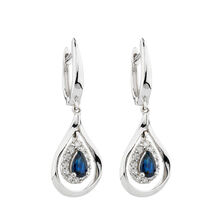 Online Exclusive - Earrings with Sapphire & Diamonds in 14ct White Gold