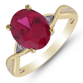 Twist Ring with Created Ruby & Diamond in 10ct Yellow Gold