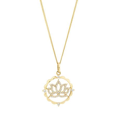 Lotus Talisman Pendant with 0.15 Carat of Diamonds in 10ct Yellow Gold