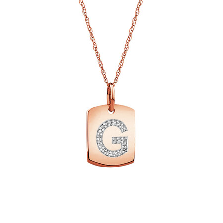 """G"" Initial Rectangular Pendant With Diamonds In 10ct Rose Gold"
