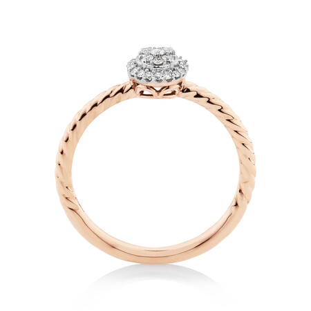 Promise Ring with 0.13 Carat TW of Diamonds in 10ct Rose Gold