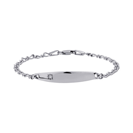 """14.5cm (6"""") Baby Identity Bracelet with a Pink Cubic Zirconia in 10ct White Gold"""