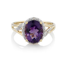 Online Exclusive - Ring with Amethyst & Diamonds in 10ct Yellow & White Gold