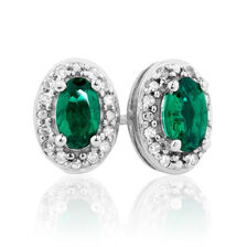 Stud Earrings with Created Emerald & Diamonds in 10ct White Gold