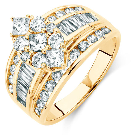 Engagement Ring with 2 Carat TW of Diamonds in 14ct Yellow Gold