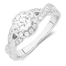 Engagement Ring with 1.05 Carat TW of Diamonds in 14ct White Gold