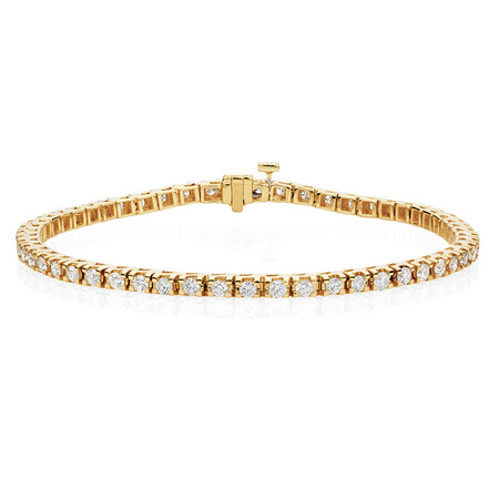 Tennis Bracelet with 3 Carat TW of Diamonds in 18ct Yellow Gold