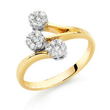 Online Exclusive - Engagement Ring with 1/4 Carat TW of Diamonds in 9ct Yellow & White Gold