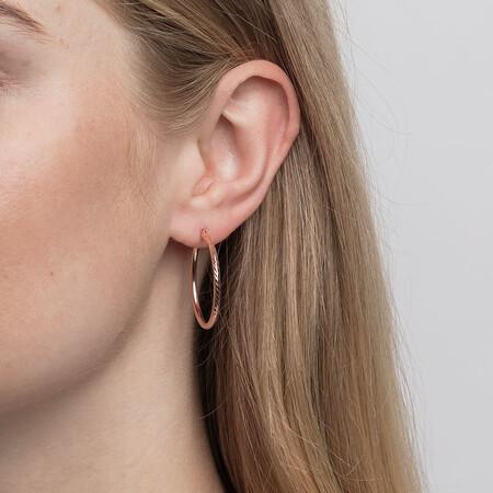 Patterned Hoop Earrings in 10ct Rose Gold
