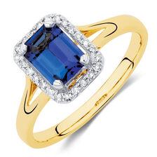 Ring with Tanzanite & Diamonds in 10ct Yellow Gold