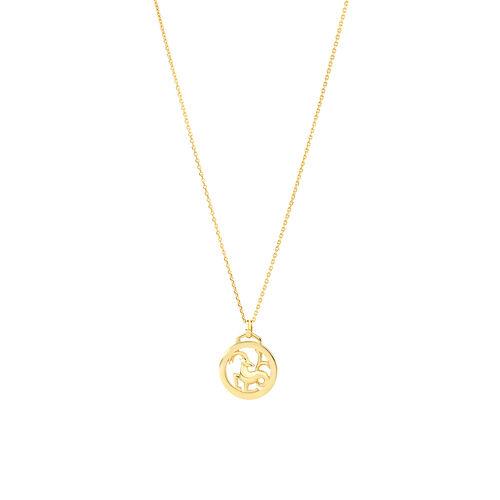 Capricorn Zodiac Pendant with Chain in 10ct Yellow Gold