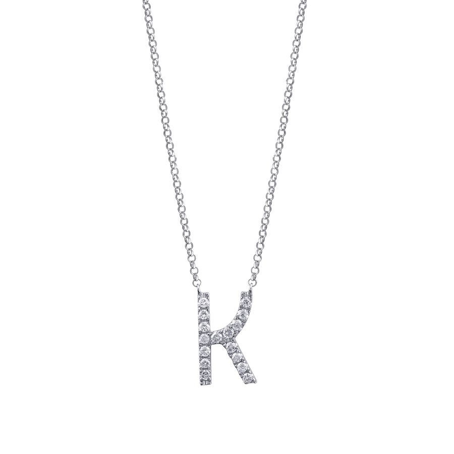 K' Initial necklace with 0.10 Carat TW of Diamonds in 10ct White Gold