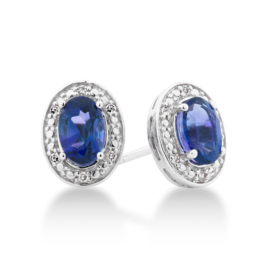 Halo Earrings with Created Blue Sapphire and 0.04 Carat TW of Diamonds in Sterling Silver