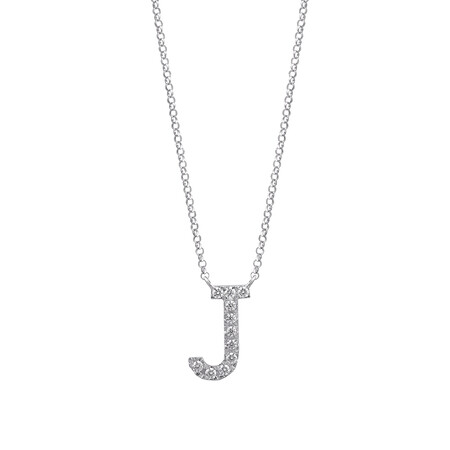 J' Initial necklace with 0.10 Carat TW of Diamonds in 10ct White Gold