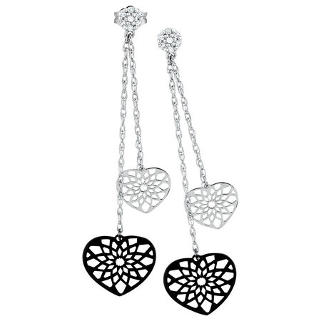 Drop Earrings with Diamonds in 10ct White Gold