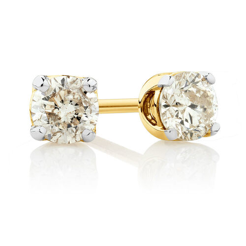 Stud Earrings with 0.30 Carat TW of Diamonds in 10ct Yellow Gold
