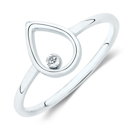 Pear Ring With a Diamond In 10ct  White Gold
