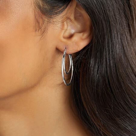Double Hoop Earrings in Sterling Silver