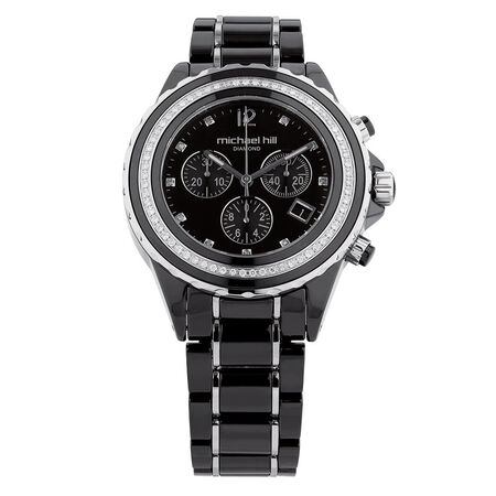 Unisex Chronograph Watch with 1/2 Carat TW of Diamonds in Black Ceramic & Stainless Steel