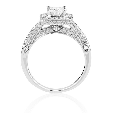 Engagement Ring with 0.84 Carat TW of Diamonds in 14ct White Gold