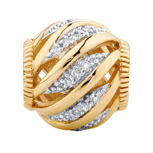 Diamond Set 10ct Yellow Gold Wave Charm