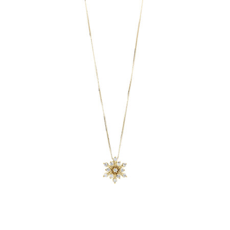 Flower Pendant with 0.16 Carat TW of Diamonds in 10ct Yellow Gold