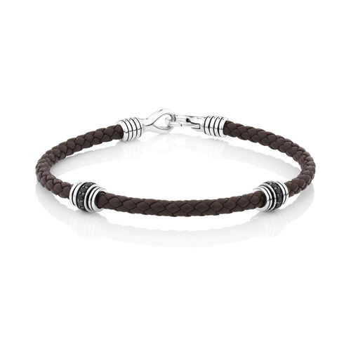 Brown Leather Bracelet with Cubic Zirconia in Sterling Silver