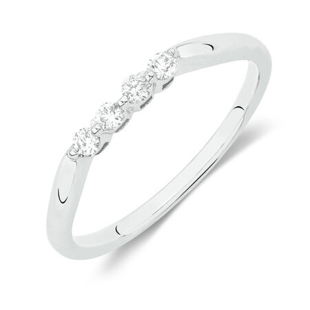 Online Exclusive - Wedding Band with 0.12 Carat TW of Diamonds in 10ct White Gold