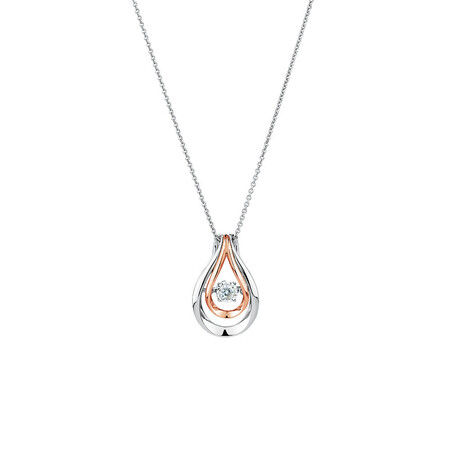 Everlight Pendant with a Diamond in 10ct Rose Gold & Sterling Silver