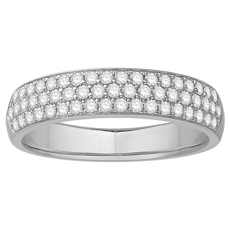 Multi Row Wedding Ring with 1/2 Carat TW of Diamonds in 14ct White Gold