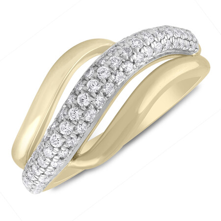 Swirl Ring with 0.50 Carat TW of Diamonds in 10ct Yellow Gold